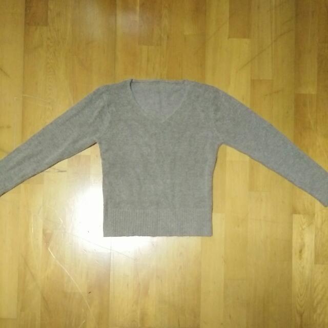 全新 秋冬 針織 V領 毛衣---灰咖(XS)