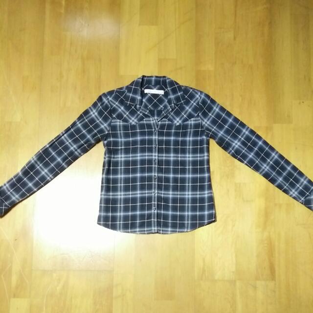 近全新 專櫃 Giordano 佐丹奴 女生 法蘭絨 襯衫---灰藍白(S)
