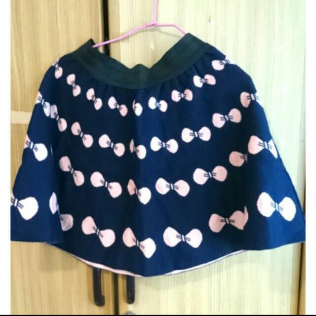 蝴蝶結圖案針織短裙
