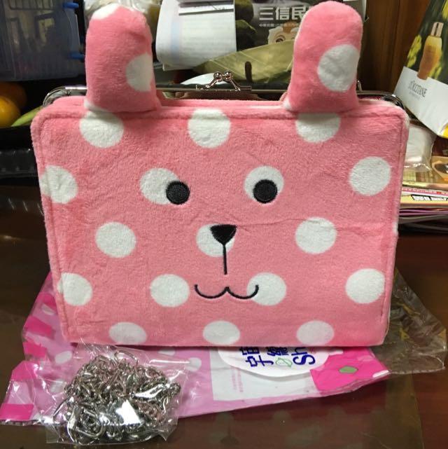 摩登時尚珠扣包-點點粉紅兔