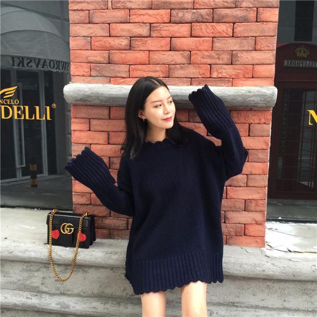 小花邊長版針織毛衣