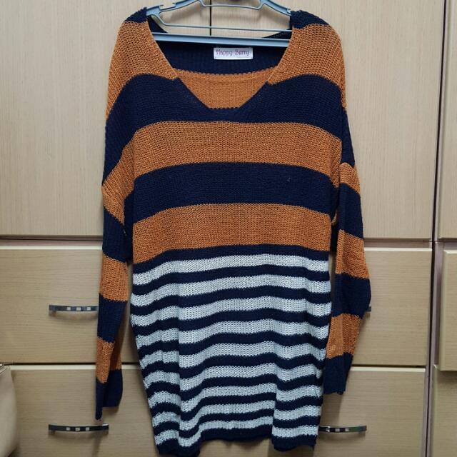 韓國製橘色條紋配色針織長版上衣