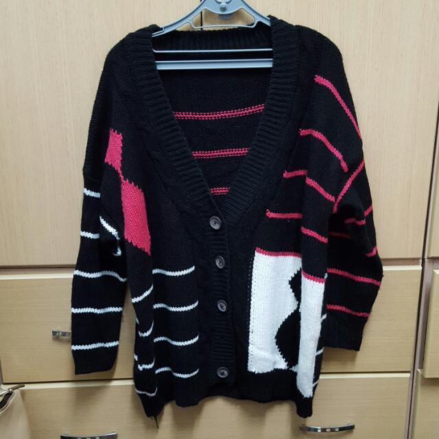 黑色條紋針織外套
