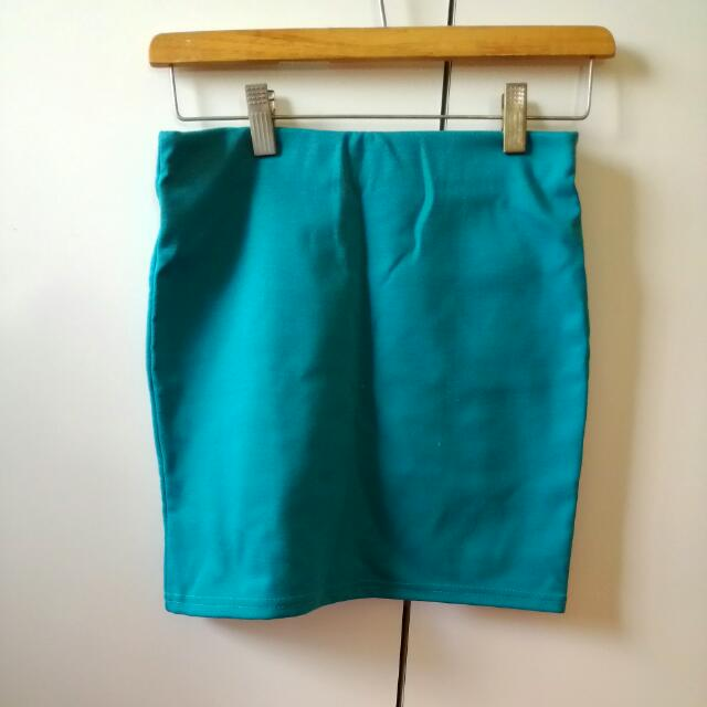 近全新 湖水綠 棉質 短裙