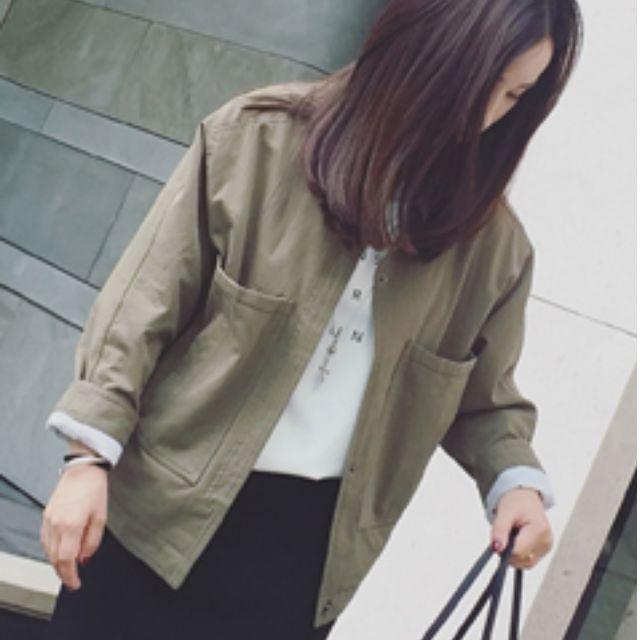 韓版 百搭 寬鬆 口袋 軍綠色 外套 襯衫 BF風