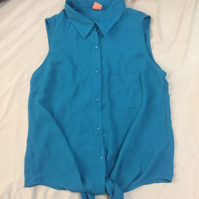 Blue Sleeveless Polo