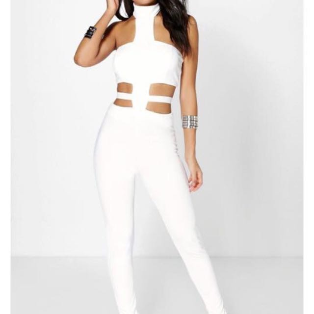 Boohoo White Jumpsuit