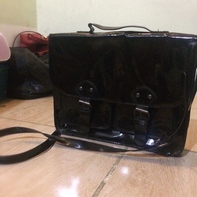 Divided By H&M Shiny Black Satchel