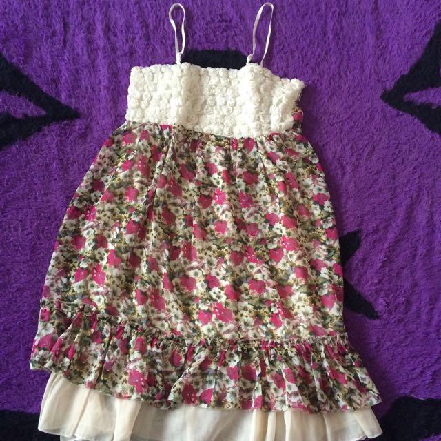 Flower Dress Tanpa Lengan