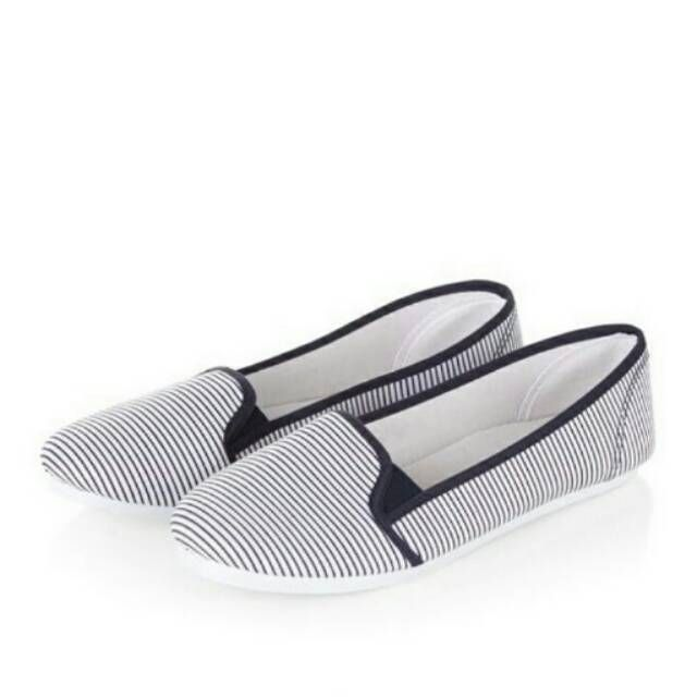 (free ongkir) new look navy stripe slip on plimsolls