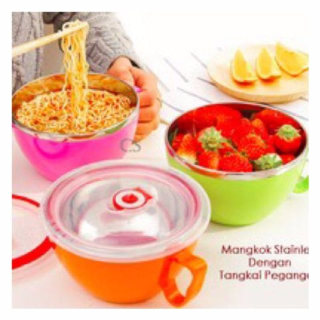 fresh bowl / stainless cup / mangkok stainless + pegangan