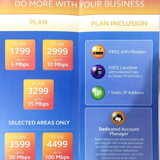 globe business plan 3mbps
