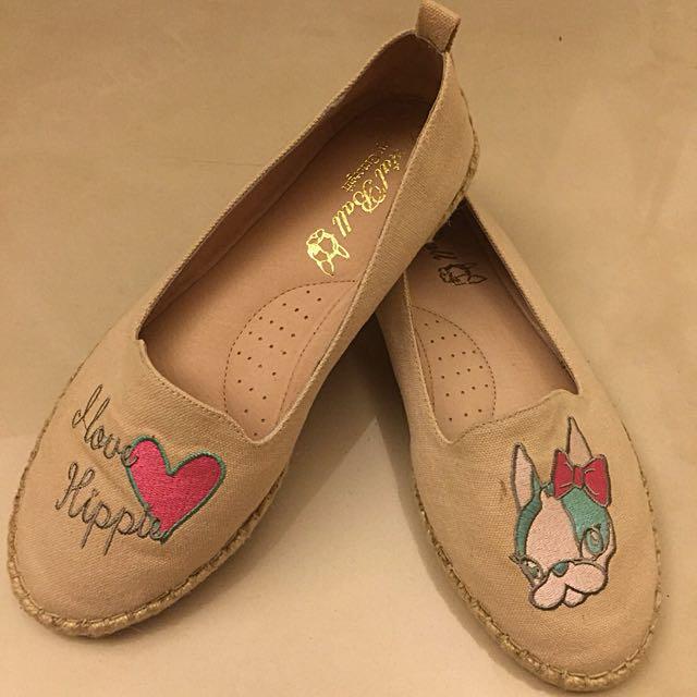 Grace gift x Krystal ball 狗頭聯名款真皮鞋墊草編鞋 23.5