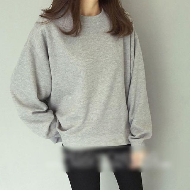 Grey Knit Korean Crew Neck Sweater