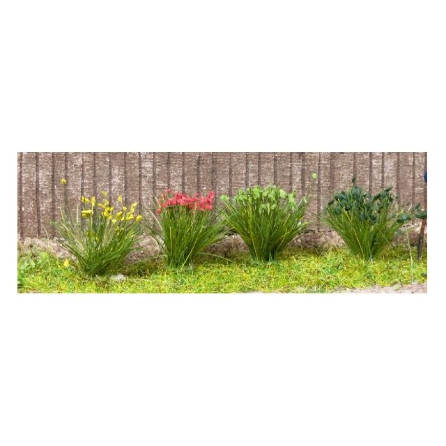 "[H0 1/87, N 1/150] Model Grass Tufts XL ""green+blossom"", 104 pcs with 4 different types [Noch] NEW"