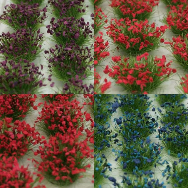 "[H0 1/87, N 1/150] Model Grass Tufts XL ""Wild Flowers"", 104 pcs with 4 different types [Noch] NEW"