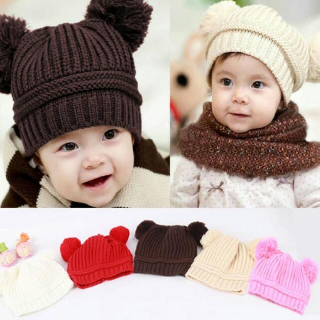 b70ea3278d2 Hot New Sweet Baby Boys Girls Toddler Knitted Crochet Beanie Kids ...