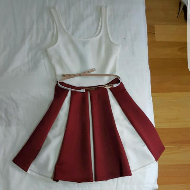 ICE White And Maroon Pleated Dress