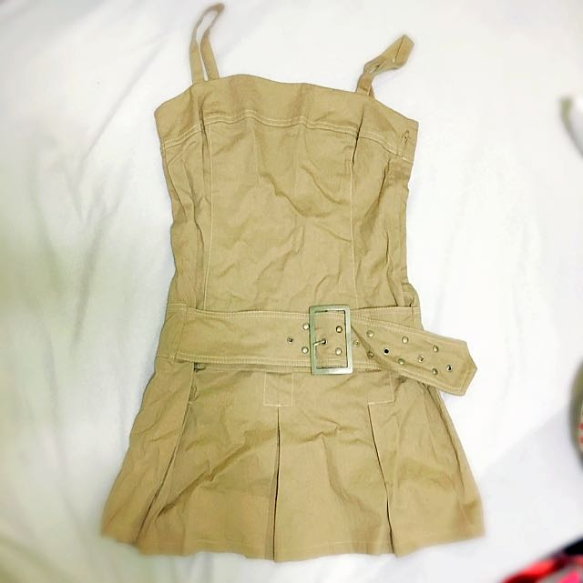 Khaki 1 piece dress skirty