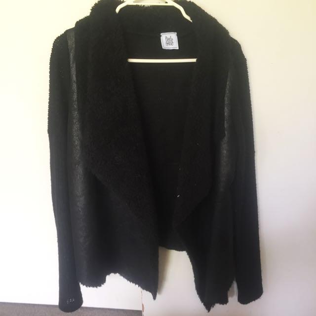 Leather/knit Cardigan