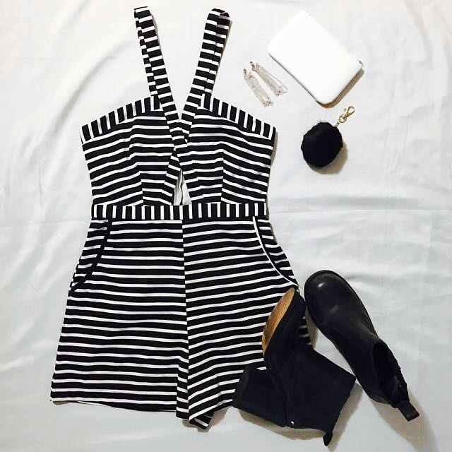 Loving Things (size 8)- Black & White Striped Playsuit