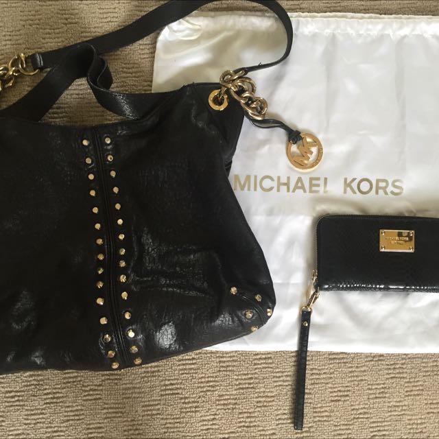 Michael Kors Leather Handbag And Wallet