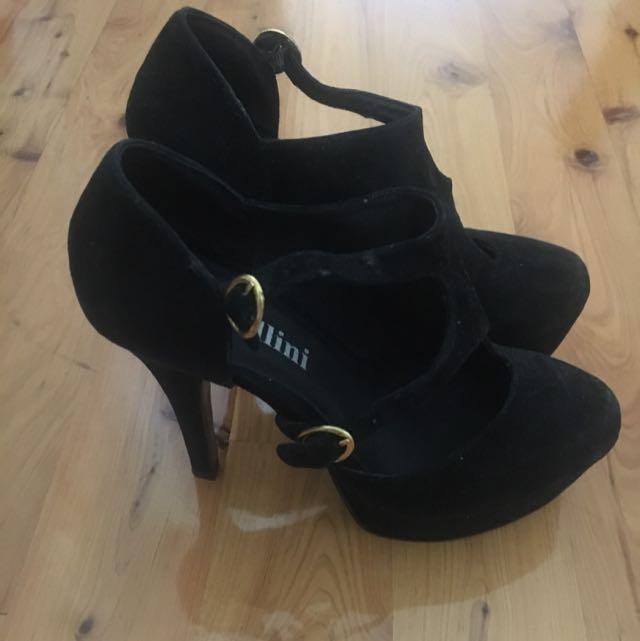 Mollini Black Leather Heels