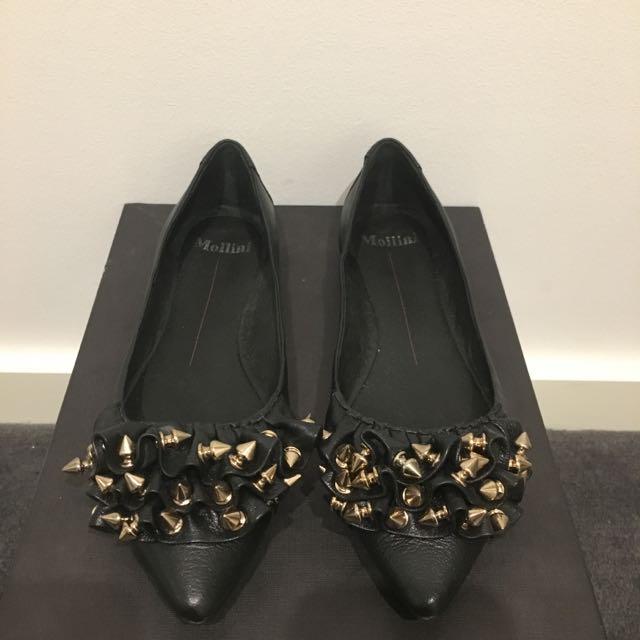 Mollini Black Studded Flats Size 27