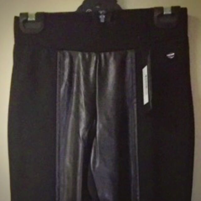 NEW W TAGS GUESS LEATHER LOOK PONTE TIGHTS