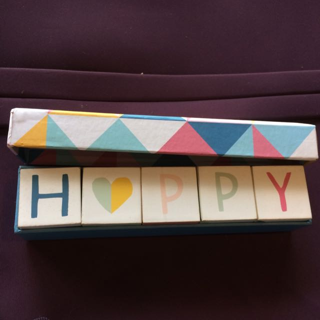 Pastel Cute Happy Wooden Blocks Customisable Desk Ornament