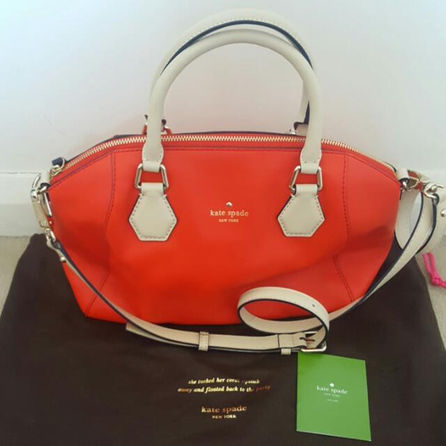 Red Kate Spade Handbag Leather