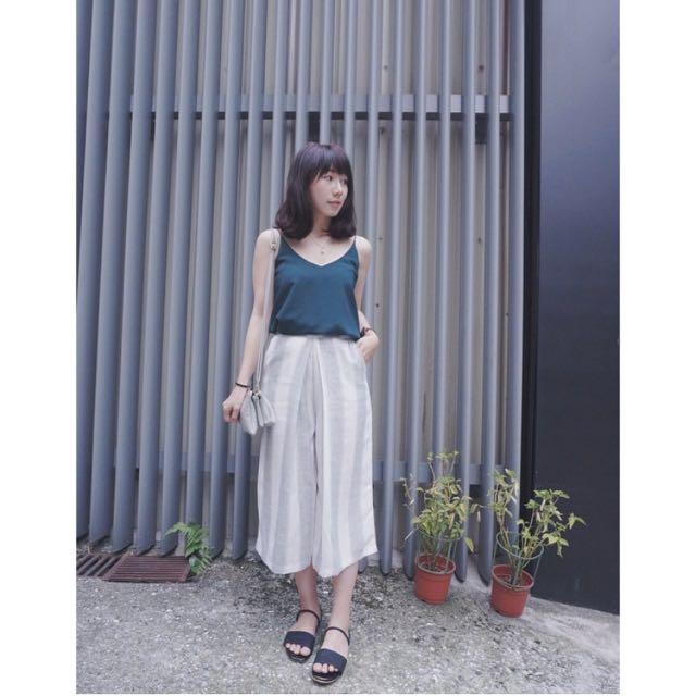 Rei Shop直條紋打折寬褲S