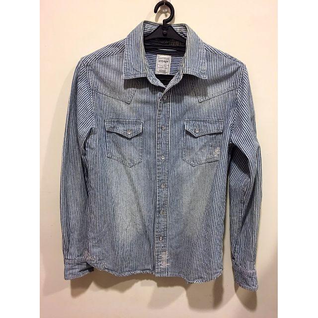 ROCK STEADY 高磅數 直條紋刷色牛仔襯衫 長袖 淺白藍