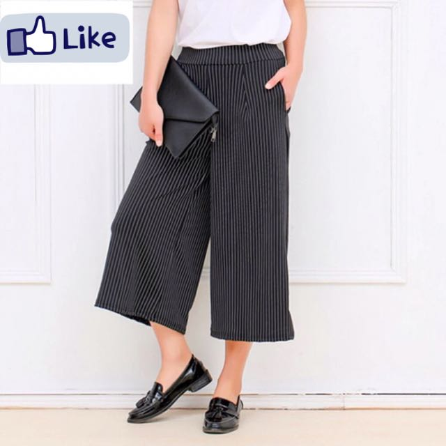 Vertical Stripes Wide Leg Pants For Women Loose  Casual Trousers Black  Elegant Wear