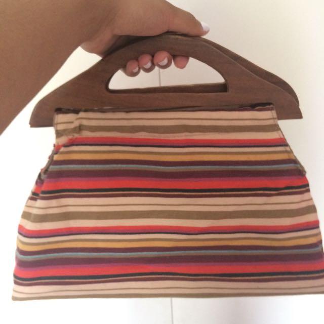 Vintage Striped Clutch Purse