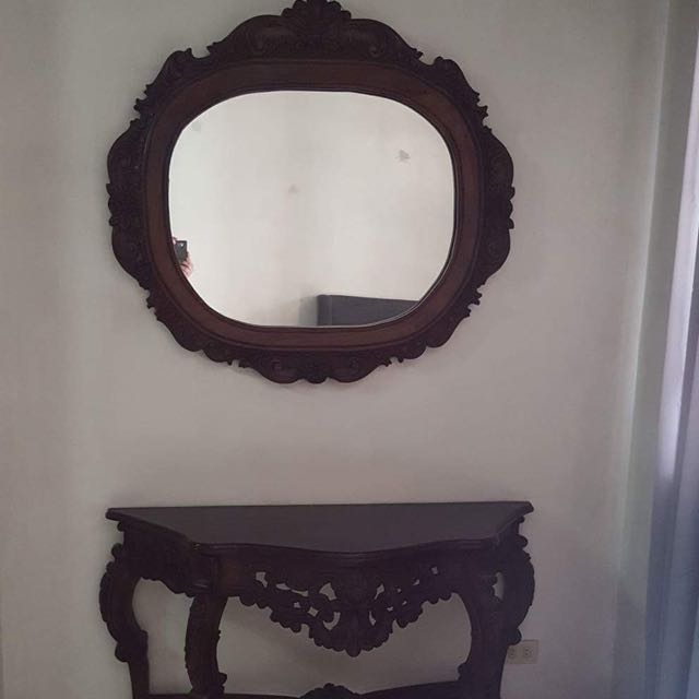 Wall Mirror And Table