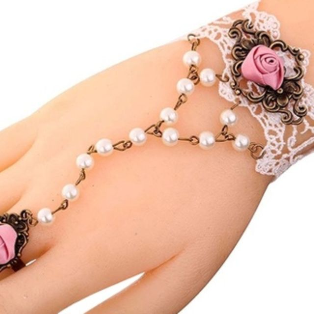 White Lace Pink Rose Flower Bracelet Faux Pearl Chain Ring Jewelry (