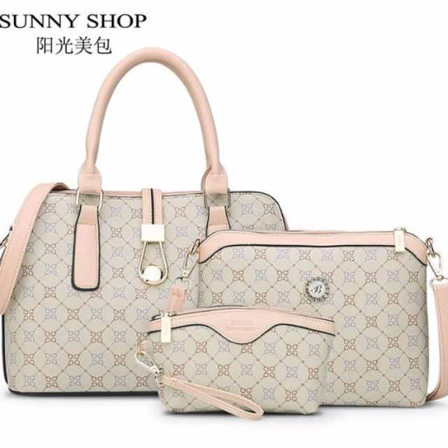 Women Handbag-SHOP3 Bag/Set New Mother Handbag Brand Designer Women Bag Letter Striped Fashion