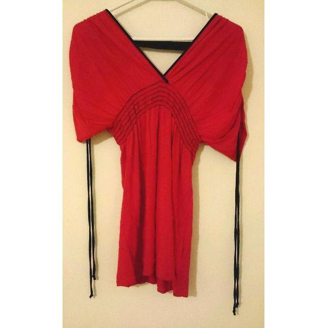 Women's Red V-Neck Kimono Style Blouse Top