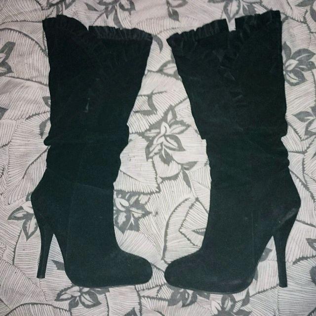 Women's Shi by Journeys Black Suede Ruffle Style High Heel Boot 4 1/2 inch Heel