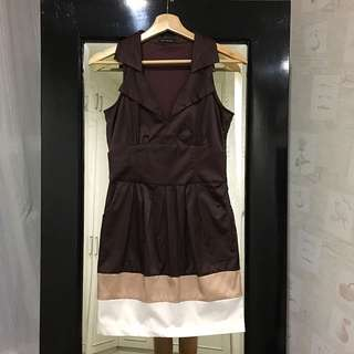 Body And Soul - Chocolate dress w/ Collar And Pocket
