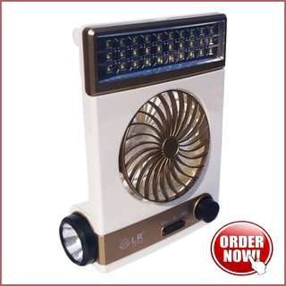 Kipas Angin Plus Lampu Solar - Gold (Solar Light Fan) #Perangkat Elekt