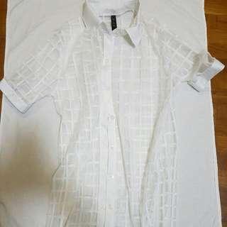 White&Transparent Checkered Korean Outer