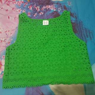 Green Crop Tee   Size S