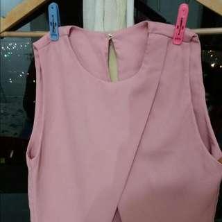 Crop top silang pink