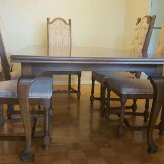 dining table and 6 chairs and cabinet from Artshoppe Toronto