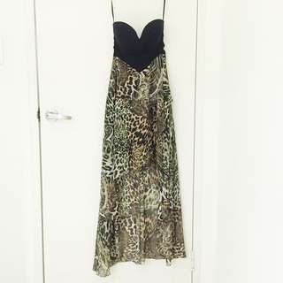 Sexy High-Low Hem Sweetheart Leopard Print Dress With Cut Outs (Size S/AU8)