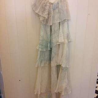 Camilla Off Shoulder Tiered Silk Printed Dress
