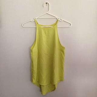 Bright Yellow Sleeveless Top Size 8