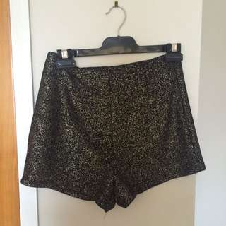 Black With Gold Booty Shorts Size 8